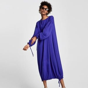 NWT Zara Size S Maxi Blue Boho Dress